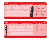 stock photo of boarding pass  - Vector image of airline boarding pass tickets - JPG