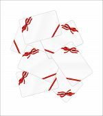 Mess Of White Gift Cards With Red Ribbon And Bow