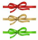 Set Of Differenet Ribbons With Bow