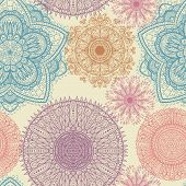 Seamless Elegant Vintage Pattern With Hand Drawn Flowers