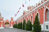Flagpoles along the wall with pointed windows of the Petroff Palace in Moscow. Palace was built in t