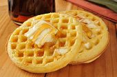 stock photo of buttermilk  - Buttermilk waffles with maple syrup and butter  - JPG