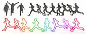 Sets Of Rough Sketch Silhouette And Colorful Running People In 3D