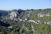 Panoramic view of the Episcopal city in Rocamadour, France