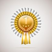 Number one golden award with white and gold ribbon