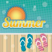 Summer holiday card with swimming pool and flip flops, vector