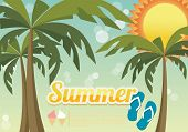 Summer holiday card with palm trees and flip flops, vector