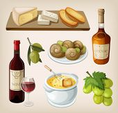 picture of brie cheese  - Set of traditional french drinks and appetizers - JPG