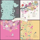 Gentle set with four floral cards with flowers, birds, cages. Summer concept backgrounds in cartoon