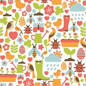 seamless pattern with spring icons