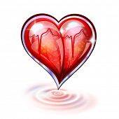 Heart of glass and ripples on white