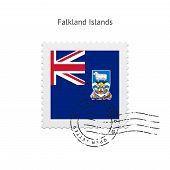 picture of falklands  - Falkland Islands Flag Postage Stamp on white background - JPG