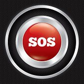 Sos button. Metallic icon on Carbon background.
