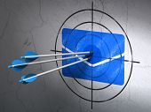 Business concept: arrows in Email target on wall background