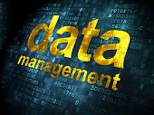 Data concept: Data Management on digital background