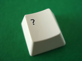 picture of keyboard keys  - the question mark key from a computer keyboard - JPG