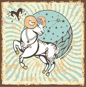 stock photo of zodiac  - Aries zodiac signs of Horoscope circle with constellation on shabby vintage background - JPG