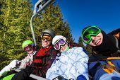 Smiling friends in ski masks sit on elevator