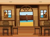 Illustration of a saloon bar