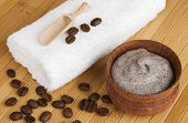 stock photo of abrasion  - Homemade skin exfoliant of ground coffee and sour cream - JPG