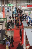 Top View Of People And Booths At Solarexpo 2014 In Milan, Italy