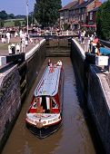 Narrowboat in lock, Stoke Bruerne.