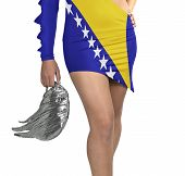 Futuristic Young Woman With Flag From Bosnia On Her Dress