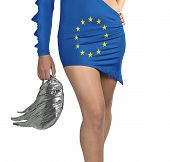 Futuristic Young Woman With Flag From Europe On Her Dress