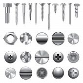 pic of stud  - Screws nuts and rivets icons detailed vector set - JPG