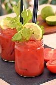 picture of bloody mary  - Bloody mary cocktail drink and fruits ingredients - JPG