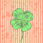 Sketch Clover, Vector Background, Saint Patrick Day