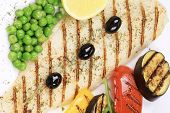 image of pangasius  - Pangasius fillet grilled with vegetables - JPG