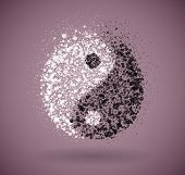 image of yin  - Symbol of yin and yang of the circles - JPG