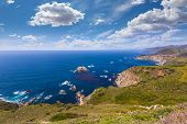 California  beach near Bixby bridge in Big Sur in Monterey County along State Route 1 US