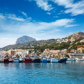 Javea Xabia port marina with Mongo mountain in Alicante Spain