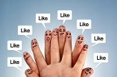 Social network family concept finger people in discussion with like speech bubbles