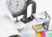 Lens, pantone and micrometer
