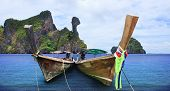 Andaman Long Tailed Boat Southern Of Thailand And Koh Kai Island Krabi Thailand