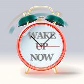 Retro alarm clock, with inscription Wake up now