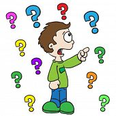 cartoon illustration of a little boy asking questions