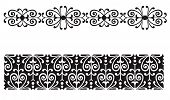 image of scrollwork  - Delicate curvy leaf scroll scrollwork ornaments for wedding announcements or invitations or flourishes for page ornamentation with a Victorian vintage flavor and lace border - JPG