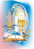 stock photo of communion-cup  - background with characteristic symbols of Holy Communion - JPG