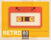 Vintage Poster with Audio Cassette, Retro Background Texture.