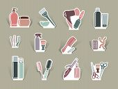 Hairdresser's accessories on cut out icons