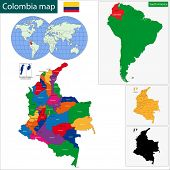 Map of the Republic of Colombia with the regions colored in bright colors and the main cities