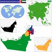 Map of the United Arab Emirates drawn with high detail and accuracy