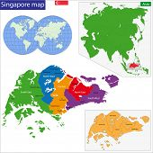 Map of the Republic of Singapore drawn with high detail and accuracy