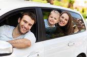 foto of car-window  - Family sitting in the car looking out windows  - JPG