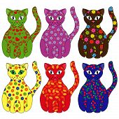 Set Of Six Stylized Cats
