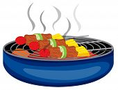 Illustration of the barbeques cooked above the barbeque grill on a white background